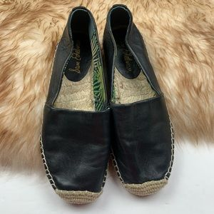 Sam Edelman Black Leather Espadrilles Lynn 5 1/2